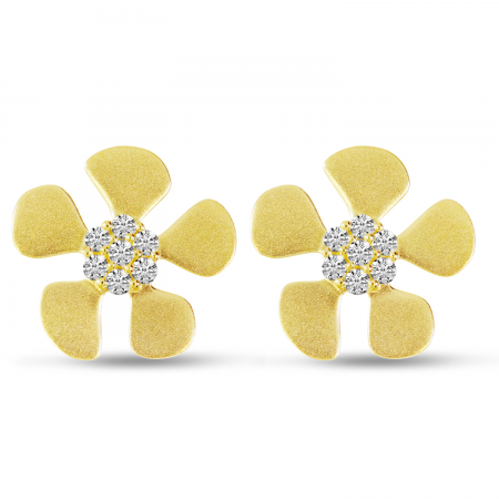 14K Yellow Gold Brushed Gold Diamond Flower Earrings