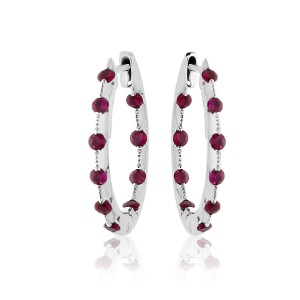 14K White Gold Tension Set Ruby Hoop Earrings