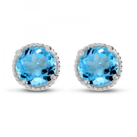 14K White Gold 5mm Round Blue Topaz Millgrain Halo Earrings