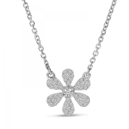 14K White Gold Diamond Pave Flower Necklace
