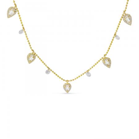 14K Yellow Gold Dashing Diamond Five Station Dangle Pear White Topaz Necklace