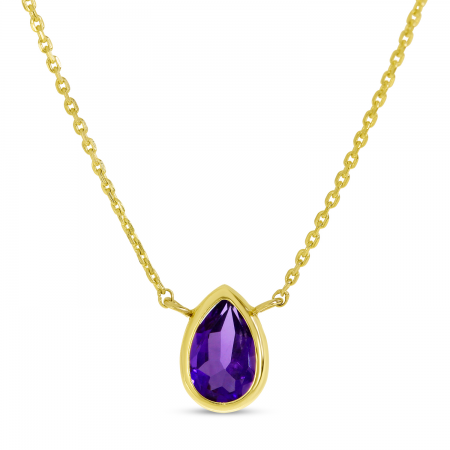 14K Yellow Gold Pear Amethyst Birthstone Necklace