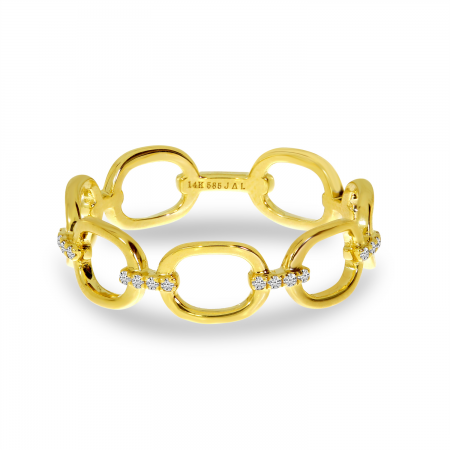 14K Yellow Gold Diamond Link Ring