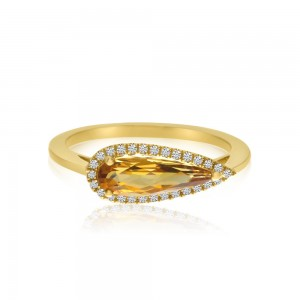 14K Yellow Gold Elongated Pear Citrine and Diamond Semi Precious Ring
