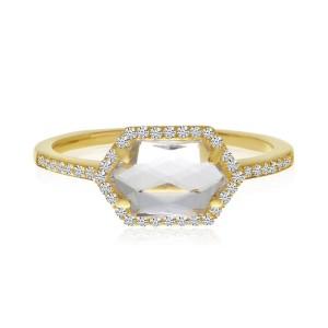 14K Yellow Gold Hexagon White Topaz and Diamond Geometric Semi Precious Ring