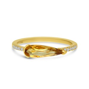 14K Yellow Gold Pear Citrine and Diamond East West Semi Precious Ring