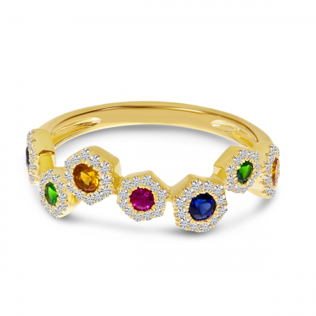 14K Yellow Gold Hexagon Zigzag Rainbow Sapphire and Diamond Ring