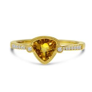 14K Yellow Gold Trillion Citrine and Diamond Millgrain Semi Precious Ring