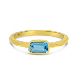 14K Yellow Gold Octagon Blue Topaz East West Semi Precious Ring