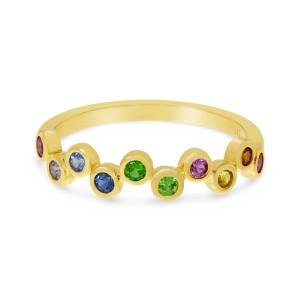14K Yellow Gold Genuine Rainbow Sapphire Bubble Ring