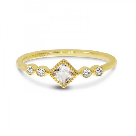 14K Yellow Gold Princess White Topaz and Diamond Stackable Semi Precious Ring