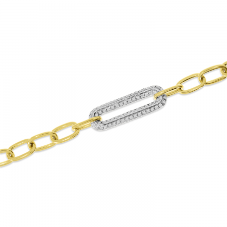 14K Yellow Gold Diamond Center Paperclip Link Bracelet