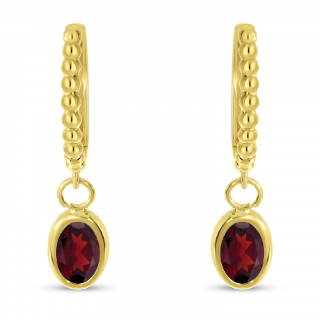 14K Yellow Gold Oval Garnet Dangle Textured Huggie Earrings