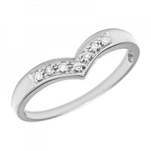 10K White Gold Diamond Chevron Ring
