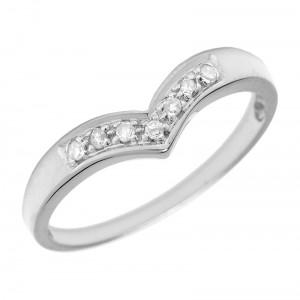 Sterling Silver Chevron Diamond Ring