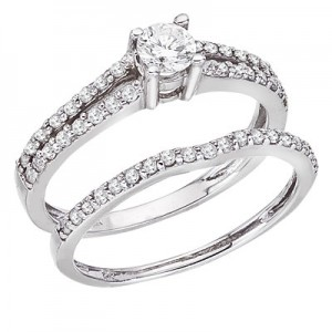 14K White Gold .65 Ct Qpid Bridal Ring Set