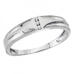14K White Gold Gents Qpid Bridal Ring Band