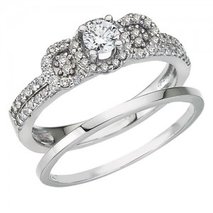 14K White Gold .48 Ct Diamond 3 stone Qpid Bridal Ring Set