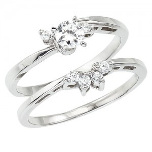 Wedding Wrap Ring | Color Merchants 14k White Gold 33 Ct Diamond Qpid Bridal Wrap Ring Set