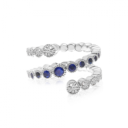 14K White Gold Diamond and Sapphire Spiral Spryng Ring