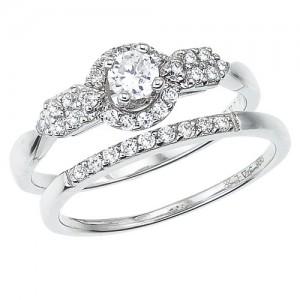 14K White Gold Qpid .50 Ct Diamond Halo Bridal Ring Set