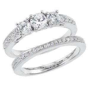 14K White Gold Qpid 1.10 Ct Diamond Three Stone Bridal Ring Set