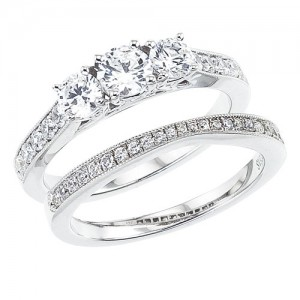 14K White Gold Qpid 1.13 Ct Diamond Three Stone Bridal Ring Set