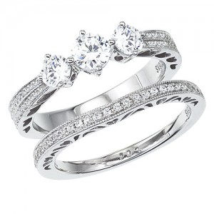 14K White Gold Qpid 1.07 Ct Diamond Three Stone Pave Bridal Ring Set