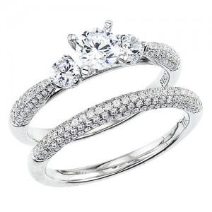 14K White Gold Qpid .88 Ct Diamond Bridal Three Stone Ring Set