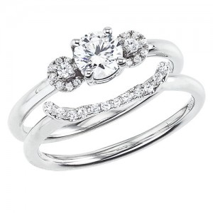 14K White Gold Qpid .55 Ct Diamond Bridal Three Stone Ring Set
