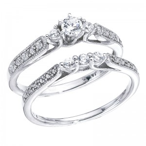 14K White Gold Qpid .33 Ct Three Stone Diamond Bridal Ring Set