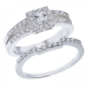 14K White Gold Qpid .89 Ct Diamond Princess Halo Bridal Ring Set