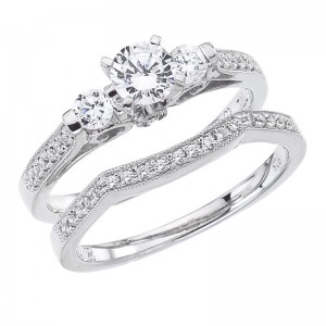 14K White Gold Qpid .68 Ct Diamond Three Stone Bridal Ring Set