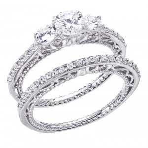 14K White Gold Qpid 1.02 Ct Diamond Three Stone Bridal Ring Set