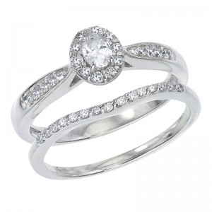 14K White Gold Qpid .46 Ct Oval Diamond Bridal Ring Set