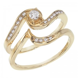14K Yellow Gold Qpid .22 Ct Diamond Bypass Bridal Ring Set