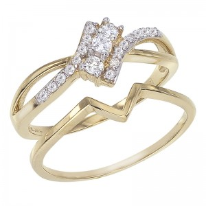 14K Yellow Gold Qpid .23 Ct Diamond Bypass Bridal Ring Set