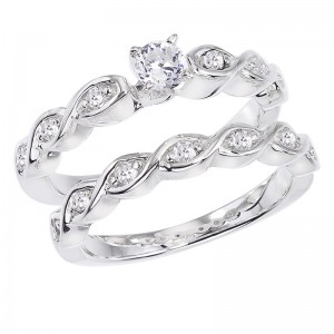 14K White Gold Qpid .51 Ct Diamond Basket Weave Bridal Ring Set