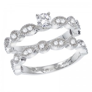 14K White Gold Qpid .60 Ct Diamond Beaded Bridal Ring Set