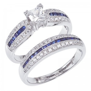 14K White Gold Qpid .70 Ct Princess Diamond and .84 Ct Princess Sapphire Bridal
