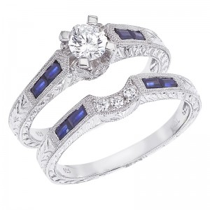 14K White Gold Qpid .48 Ct Diamond and .56 Ct Baguette Sapphire Bridal Ring Set