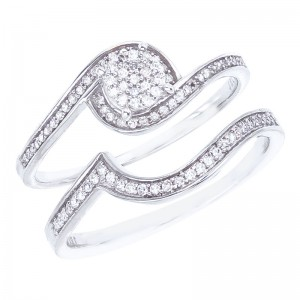 14K White Gold Qpid .22 Ct Diamond Illusion Swirl Bridal Ring Set