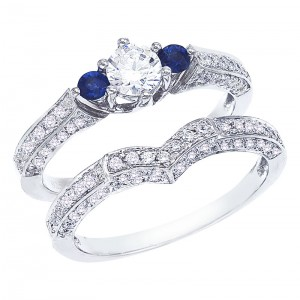14K White Gold Qpid .86 Ct Diamond and Sapphire Cathedral Bridal Ring Set