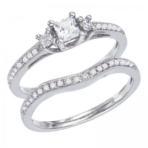 14K White Gold Qpid .75 Ct Diamond 3 Stone Princess Bridal Ring Set