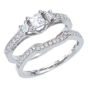 14K White Gold Qpid .90 Ct Diamond 3 Stone Princess Bridal Ring Set