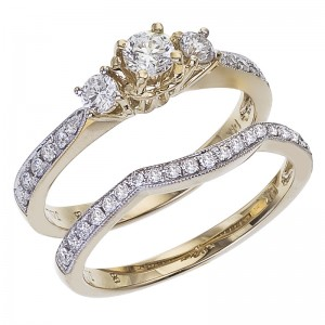 14K Yellow Gold Qpid .75 Ct Diamond Three Stone Bridal Ring Set