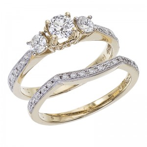 14K Yellow Gold Qpid .95 Ct Diamond Three Stone Bridal Ring Set