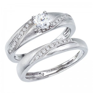 14K White Gold Qpid .57 Ct Diamond Satin Finish Bridal Ring Set
