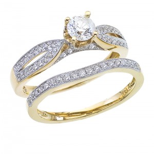 14K Yellow Gold Qpid .75 Ct Diamond Bridal Ring Set