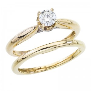 14K Yellow Gold Qpid .51 Ct Diamond Crown Bridal Ring Set